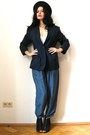 Dark-gray-felt-vintage-hat-navy-blazer-silk-vintage-jacket