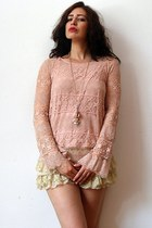 light pink crochet vintage shirt - nude lace scallop vintage shorts
