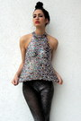 Dark-gray-anna-sui-style-tights-silver-vintage-top