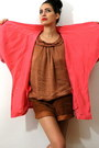 Hot-pink-vintage-blazer-brown-vintage-shorts-coral-nolita-blouse