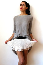 white vintage skirt - periwinkle armani sweater