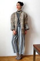 neutral homemade jacket - tan asos boots - heather gray cashmere vintage shirt