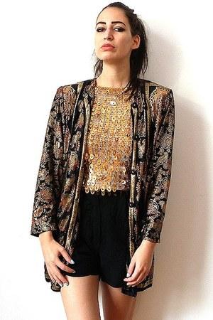 dark gray vintage jacket - black vintage shorts - gold vintage top