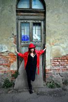 red felt vintage hat - black biker unknown boots - black nolita dress