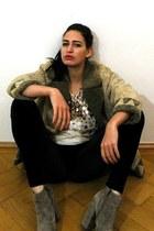camel asos boots - tan vintage coat - cream sequin vintage top