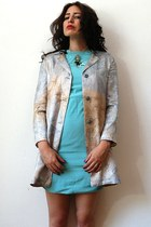 light blue vintage jacket - aquamarine silk Prada dress