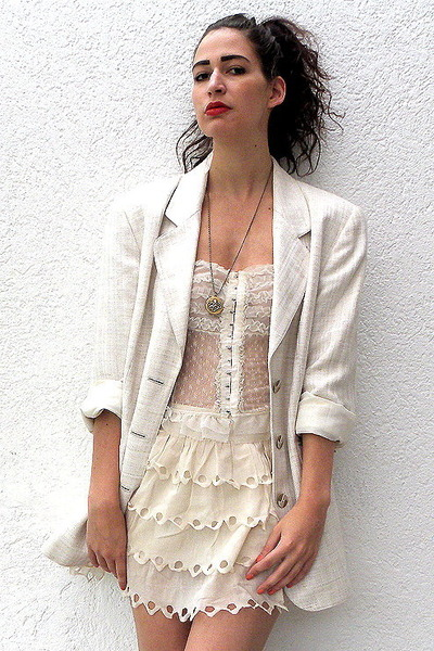 cream linen shiny vintage blazer - off white Nishe skirt - ivory vintage top - g