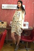 eggshell self-made dress - tan asos boots - cream self-made jacket