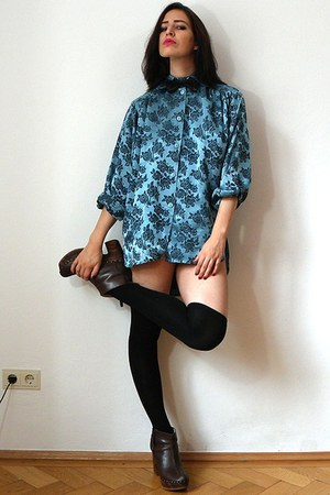 teal vintage blouse - black overknee asos socks