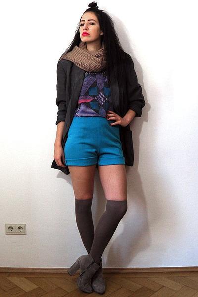 gray oversize linen vintage blazer - tan asos boots