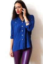 magenta leather vintage pants - blue vintage blouse