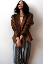 tawny leather blazer vintage jacket - neutral sheer tank vintage top