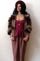 crimson felt vintage hat - dark brown vintage jacket