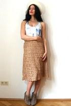 off white feather felt vintage hat - tan asos boots - camel vintage skirt