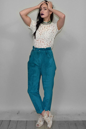 teal Vintage Hollies pants