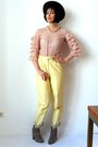 Light-pink-vintage-blouse-tan-asos-boots-light-yellow-vintage-pants