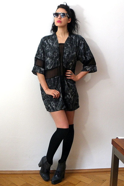 dark gray Self Sewn dress - charcoal gray chunky heel asos boots