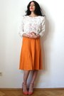 Orange-silk-knit-vintage-skirt-cream-soutache-rose-american-apparel-sweater