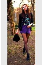 black velvet vintage hat - black vintage blazer - black vintage shirt - deep pur