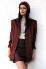 Ruby-red-angora-knitted-vintage-hat-crimson-vintage-escada-blazer-cream-lace