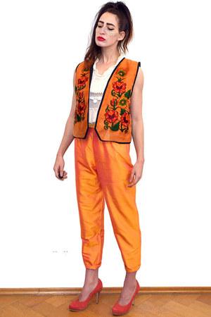 carrot orange embroidered vintage vest