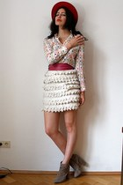 ivory lasercut Chanel skirt - tan asos boots - red felt vintage hat