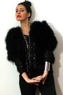 Black-marabou-feather-vintage-jacket-dark-gray-drainpipe-7fam-jeans