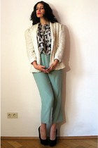 white sequin vintage blazer - navy vintage top - aquamarine vintage pants