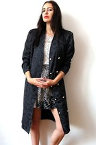 dark gray vintage 80s coat - black fawn print bw handmade skirt
