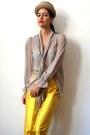 Tan-cylindric-vintage-hat-beige-sheer-mesh-nude-vintage-blouse