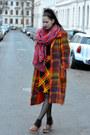Dark-brown-vintage-dress-carrot-orange-vintage-coat