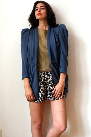 violet jersey draped Vintage apart blazer - dark khaki leather vintage shirt