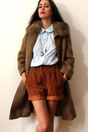 light brown vintage coat - burnt orange vintage shorts