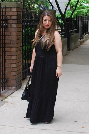 black maxi dress maison scotch dress - black foley & corinna bag
