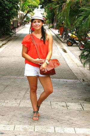 orange top - white f21 shorts - silver f21 shoes - brown vintage bag