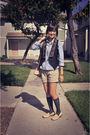 Beige-franco-sarto-shoes-gray-gap-stockings-beige-gap-shorts-blue-forever-