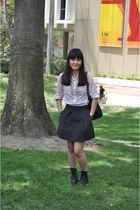 gray JCrew skirt - black boots - pink JCrew blouse - black longchamp