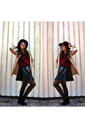 black Topshop skirt - beige Vila coat - crimson Mohito hat