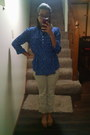 Beige-old-navy-pants-blue-cocomo-blouse-tan-mia-flats