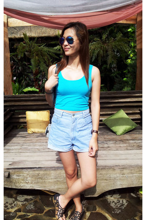 light blue Levis shorts - sky blue Refill top - black Parisian flats