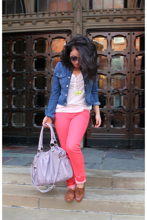 hot pink Celebrity Pink jeans - light brown Aldo shoes - blue Gap Kids jacket