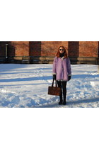 leather Office boots - shearling Fendi coat - leather warehouse bag - H&M sungla