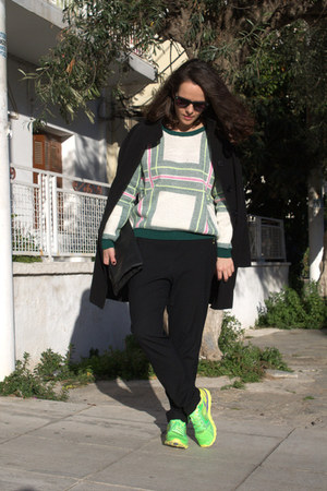 black Choies sunglasses - ivory Choies sweater - chartreuse Skechers sneakers