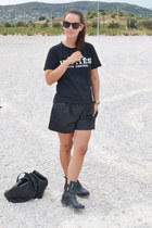 black Zara boots - black H&M bag - black Zara shorts - black H&M sunglasses