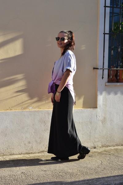 black Zara boots - black H&M dress - light purple 164Remodified shirt
