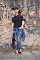 black GINA TRICOT hat - navy Zara jeans - navy Stradivarius shirt