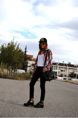 white H&M t-shirt - dark gray Nasty Gal boots - carrot orange choiescom shirt