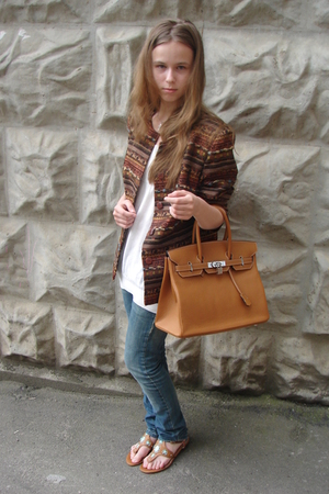 made for order jacket - Hugo Boss top - Hermes purse - Fornarina jeans - Borbone