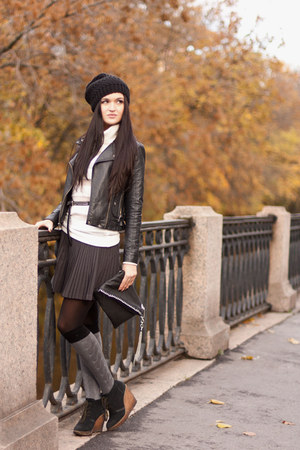 Topshop jacket - Zara boots - Concept club bag - Concept club skirt