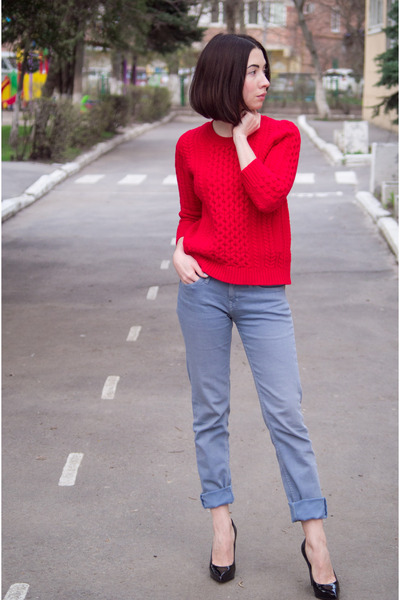 blue cotton vivienne westwood jeans - red wool J Crew sweater